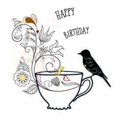 Birthday bird - bye9design digitalt print - nordic design