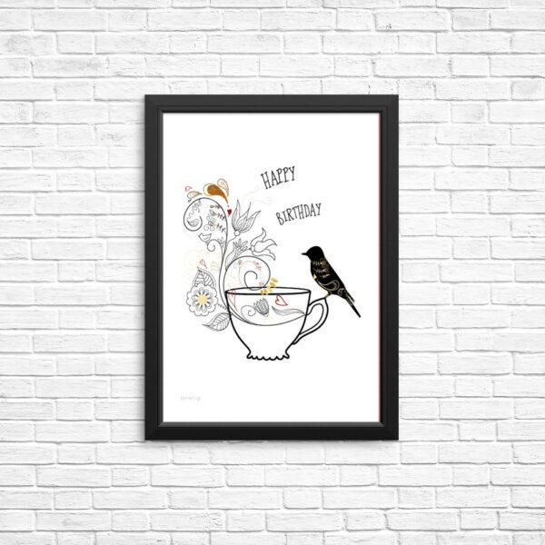 Birthday bird - bye9design digitalt print - nordic design