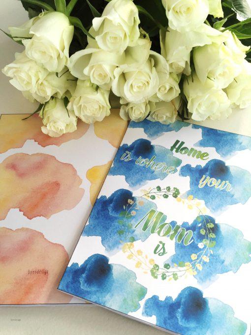Mothersday - blue -bye9design digitalt print - nordic design