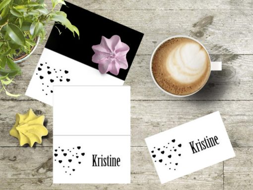 Black heart -placecard - bye9design digitalt print - nordic design