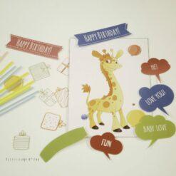 Giraff- children birthdaycard - bye9design digitalt print - nordic design