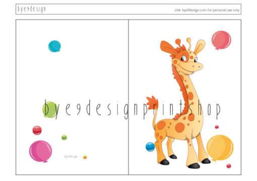 Giraff- children birthdaycard - bye9design digitalt print - nordic design