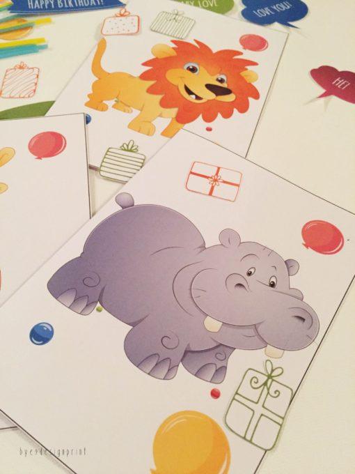 Flodhest - children birthdaycard - bye9design digitalt print - nordic design