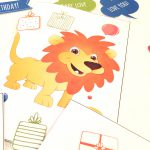 Løve- children birthdaycard - bye9design digitalt print - nordic design
