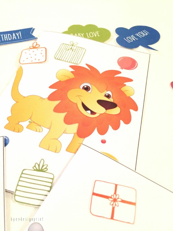 Løve- children birthdaycard - bye9design digitalt print - nordic design