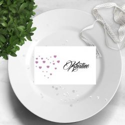 Pink heart -placecard - bye9design digitalt print - nordic design