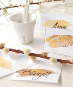Golden bordkort - bordkort bryllup - gullbryllup - bordkort konfirmasjon - nordic design - bye9design printshop