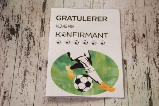 Fotball konfirmasjonskort til jente og gutt - 2 doble kort