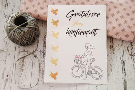 Jente - konfirmasjonskort - nordic design - bye9design printshop