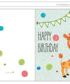 Bursdagskort-giraff-free printable - bye9design printshop