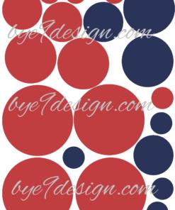 Sirkler i rødt og blått