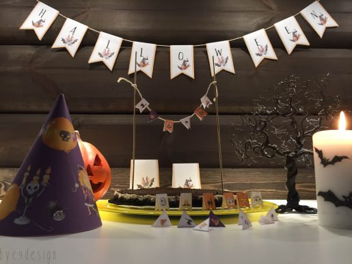 Koselig Halloween pynt i papir - digital print - partypakke - bye9design printshop