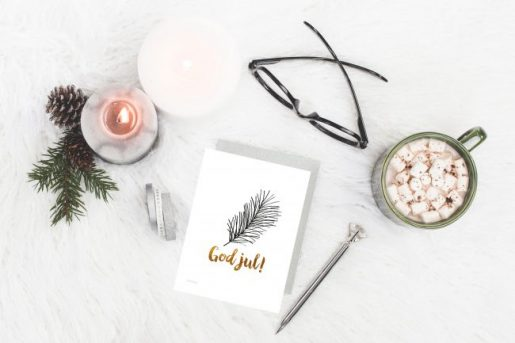 Julekort trær med gull skrift