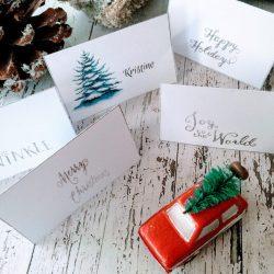 Bordkort med jultre - redigerbar - print - bye9design