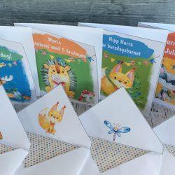 Barnekort i serien Eventyrskogen fra bye9design- redigerbar tekst - digital print