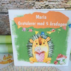 Bolla Pinnsvin - barnekort med konvolutt og redigerbar tekst - digital print