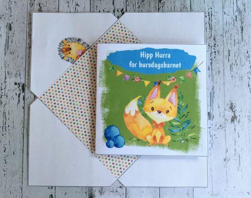 Lille Fox fra bye9design - barnekort med konvolutt og redigerbar tekst - digital print