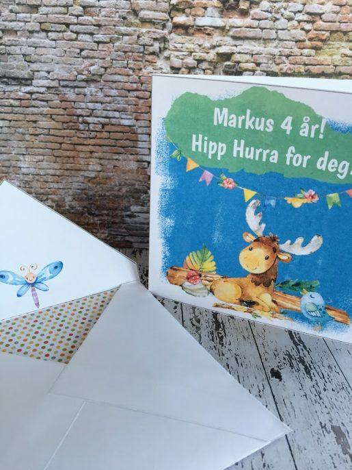 Tøffe Elga fra bye9design - barnekort med konvolutt og redigerbar tekst - digital print