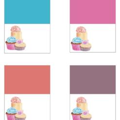 Cupcakes - bordkort og servietteringer- redigerbar