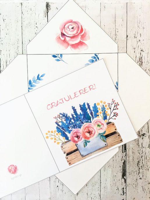 Flower power med konvolutt - bye9design print