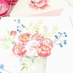 Peonene blomstrer -dobbelt kort 13x13 med konvolutt
