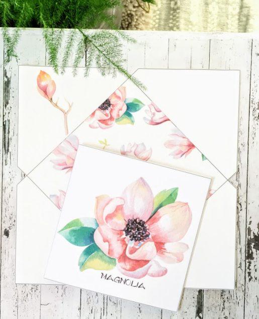 Enkel magnoliablomst - dobbelt kort 13x13 med konvolutt