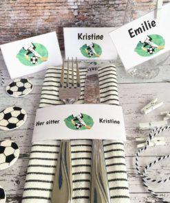 Fotball bordkort - serviettringer og ekstra merker til pynt