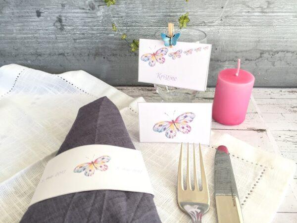 Sommerfugl -nydelige bordkort og serviettringer- redigerbar