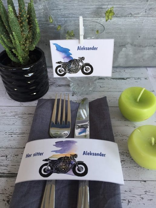 Motorsykkel - tøffe bordkort og serviettringer - redigerbar tekst
