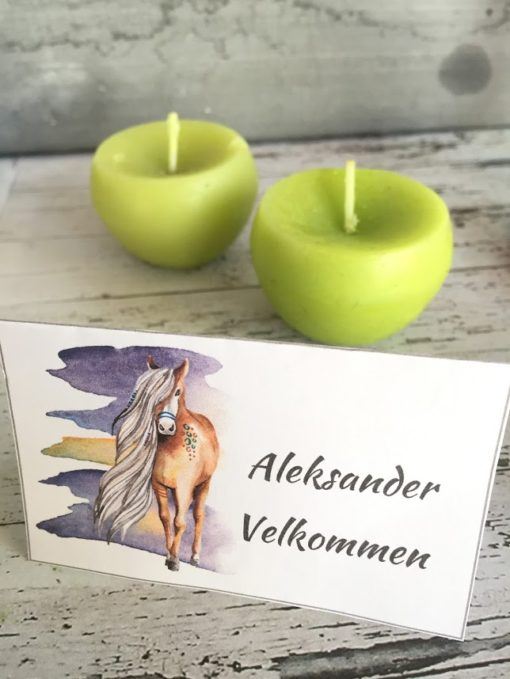 Skjønne bordkort med hester og flotte farger - serviettringer - redigerbar tekst