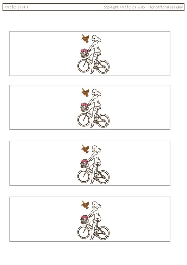 Sykkel jente og sommerfugler i gull - bordkort 5x8 cm - redigerbar tekst