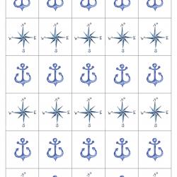 Maritime bordkort - serviettringer og ekstra merker til pynt