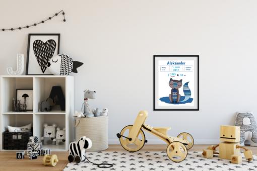 Fødselstavle Boho gutt i herlige blåfarger - bye9design