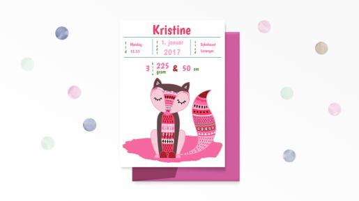 Fødselstavle i friske rosafarger - bye9design