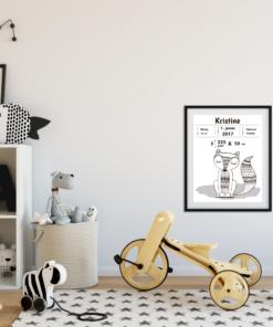 Fødselstavle Boho sort hvit - redigerbar tekst - bye9design