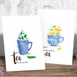 Tea time - en pakke med fire ulike plakater - kort