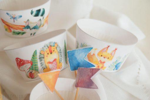 Kakepynt og muffinsformer - Eventyrskogen - barneselskap