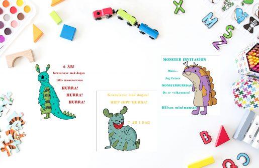 Barnekort - monster - bursdag - bye9design