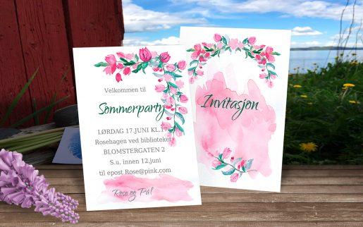Sommerparty - redigerbare invitasjoner fra bye9design