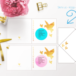 Kort med tekst til konfirmanten - rosa og blå med konvolutt