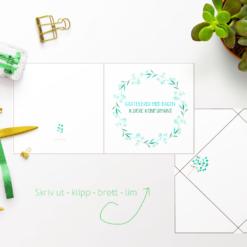 Eucalyptuskrans til konfirmanten - kort med konvolutt