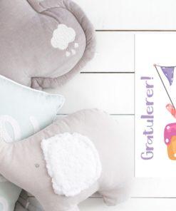 Kort med kakemotiv i friske farger