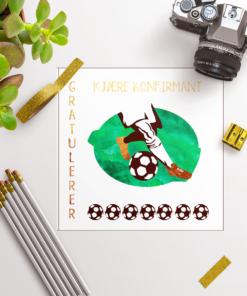 Fotballkort til konfirmanten - med konvolutt