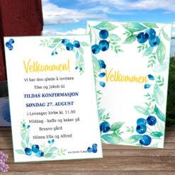 Redigerbare invitasjoner med blåbærmotiv