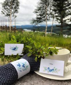 Blåbær - nydelige bordkort og serviettringer
