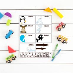 Lær klokken og ukedagene med arktiske dyrevenner - print og klipp