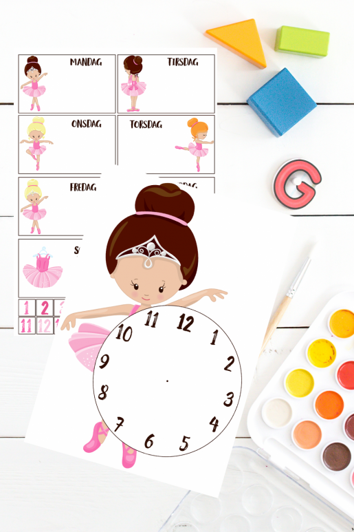 Lær klokken og ukedagene med prima ballerina - print og klipp