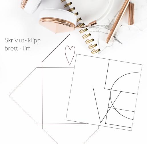 Love - dobbelt kort 13x13 med konvolutt