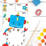 Lær klokken og ukedagene med robotvennene - print og klipp