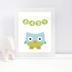 Plakat med baby ugle - print ut selv